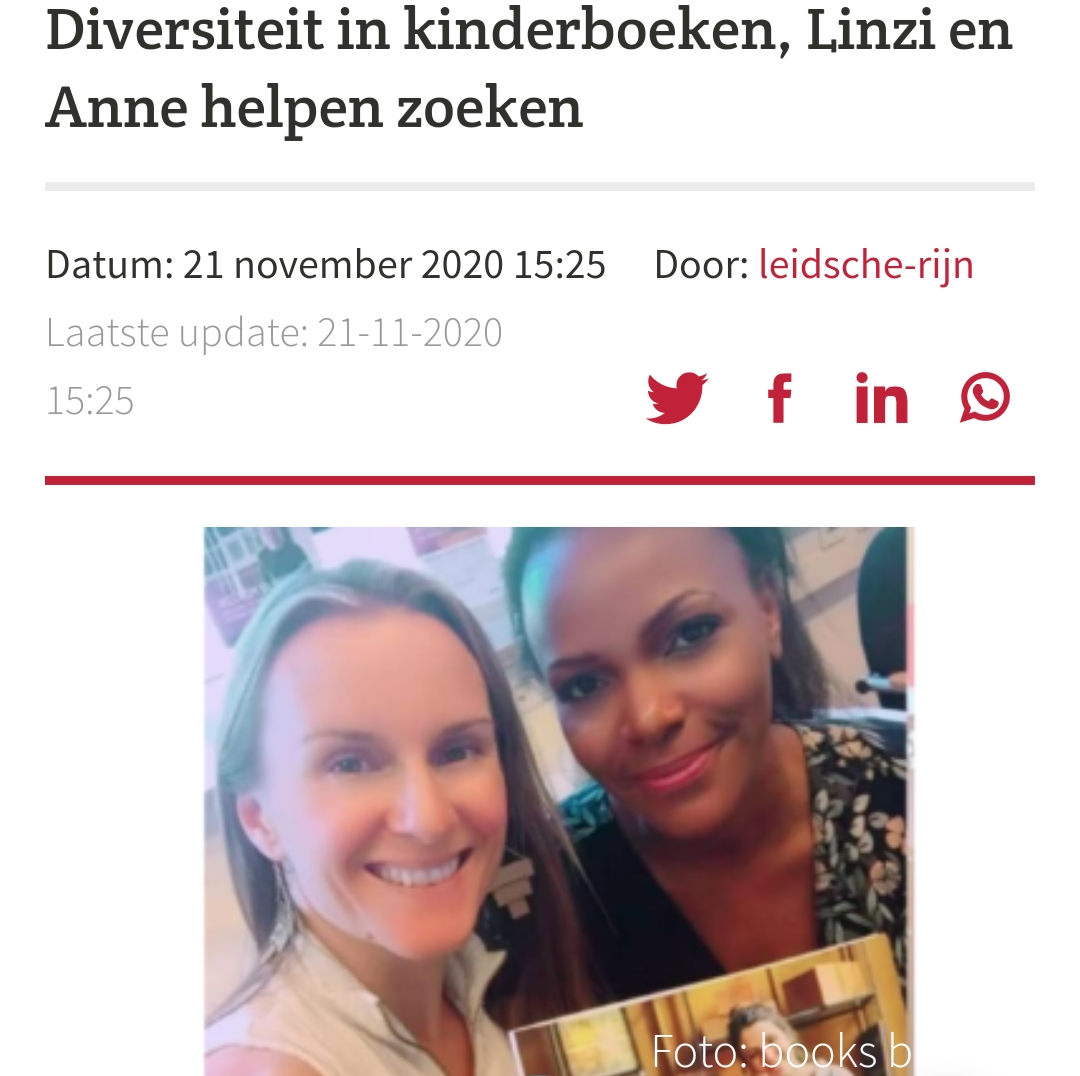 'Diversiteit in kinderboeken, Linzi en Anne helpen zoeken.'