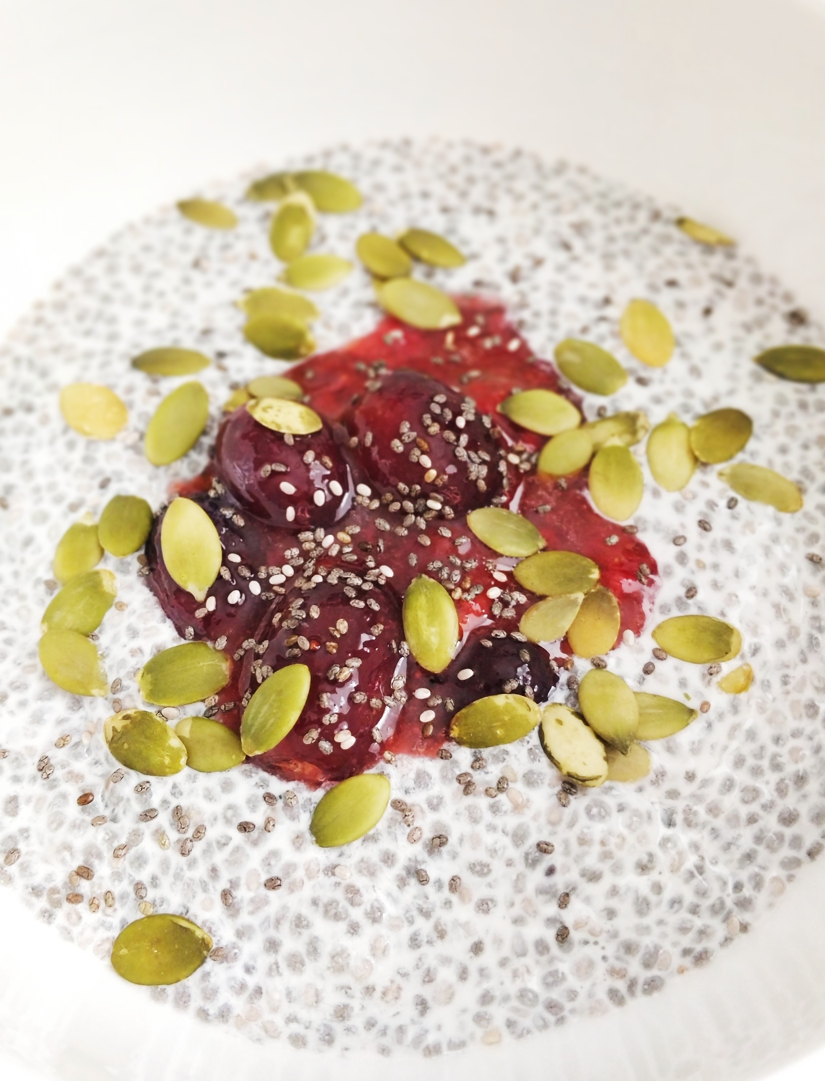 Vanilla Chia Pudding with Strawberry Stewed Grapes