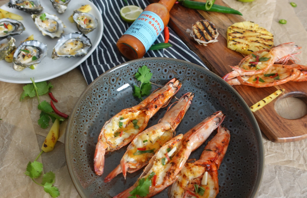 BBQ Prawns with Pineapple Hot Sauce