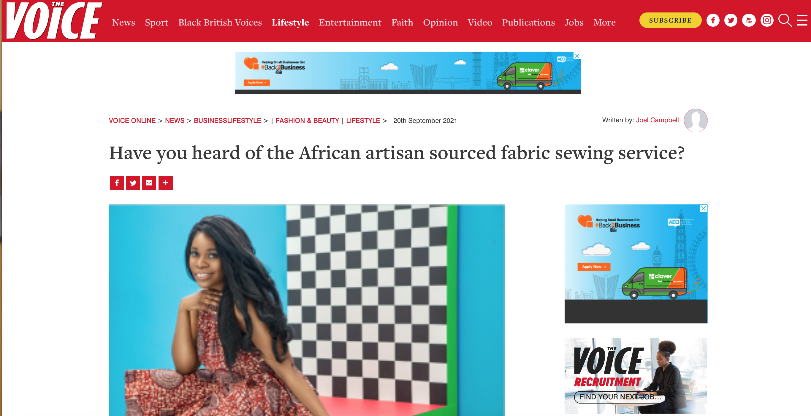 African artisan sourced fabric sewing service in the press!